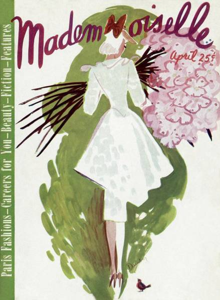 Plant Photograph - Mademoiselle Cover Featuring A Woman Carrying by Elizabeth Dauber