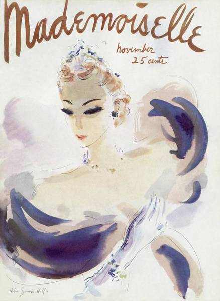 November 1st Photograph - Mademoiselle Cover Featuring A Woman In A Gown by Helen Jameson Hall