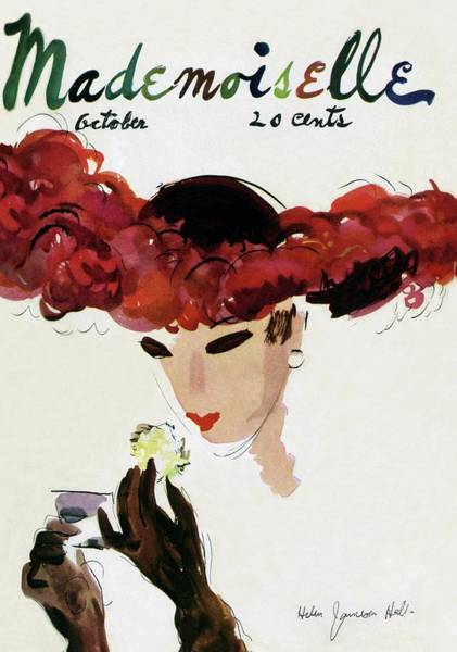 Mirror Photograph - Mademoiselle Cover Featuring A Woman In A Red by Helen Jameson Hall