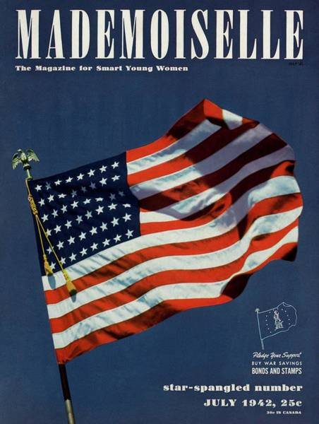 1942 Photograph - Mademoiselle Cover Featuring The U.s. Flag by Luis Lemus