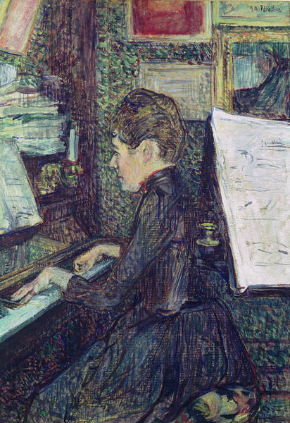 Piano Player Painting - Mademoiselle Dihau At The Piano by Henri de Toulouse-Lautrec