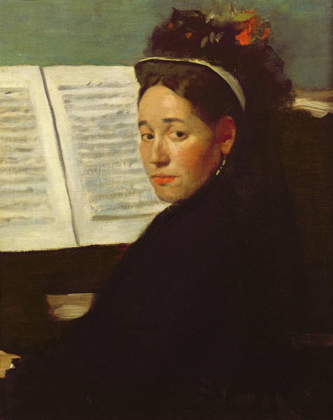 Piano Player Painting - Mademoiselle Marie Dihau At The Piano by Edgar Degas