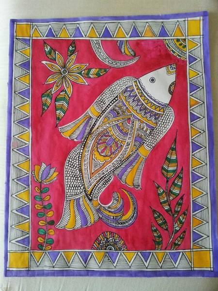 Kalamkari Painting - Madhubani by Nisha Sharma