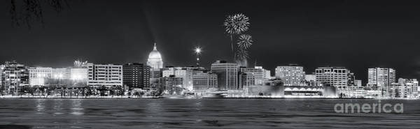 Madison - Wisconsin -  New Years Eve Panorama Black And White Art Print