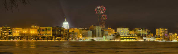 Madison Skyline New Years Eve Art Print