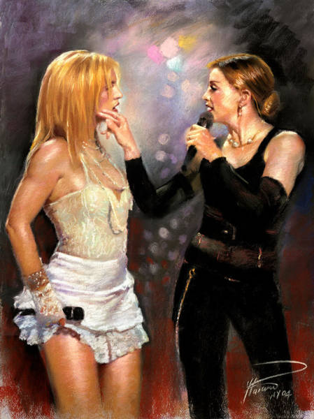 Madonna Drawing - Madonna And Britney Spears  by Viola El