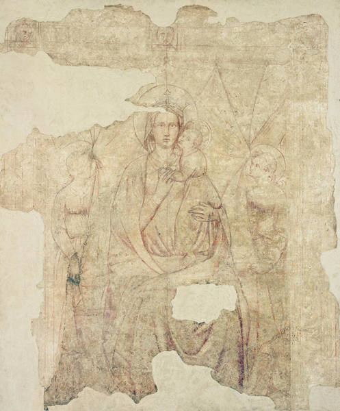 Wall Art - Photograph - Madonna And Child Enthroned, Drawing For A Fresco Sinopia On Paper by Paolo di Stefano Badaloni Schiavo