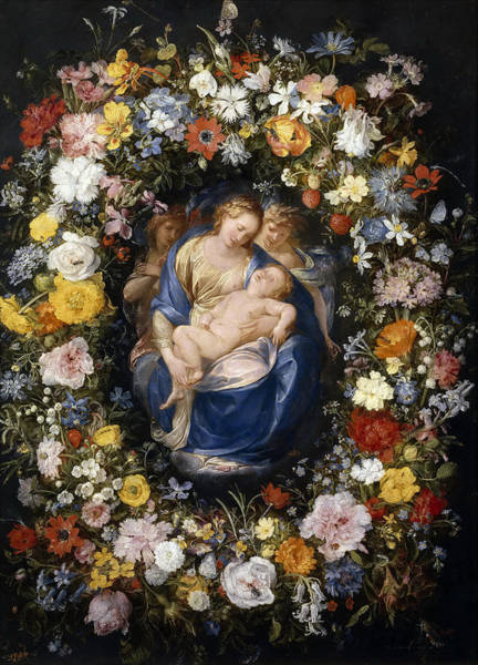 Cesare Painting - Madonna And Child In A Flower Garland by Jan Brueghel the Elder and Giulio Cesare Procaccini