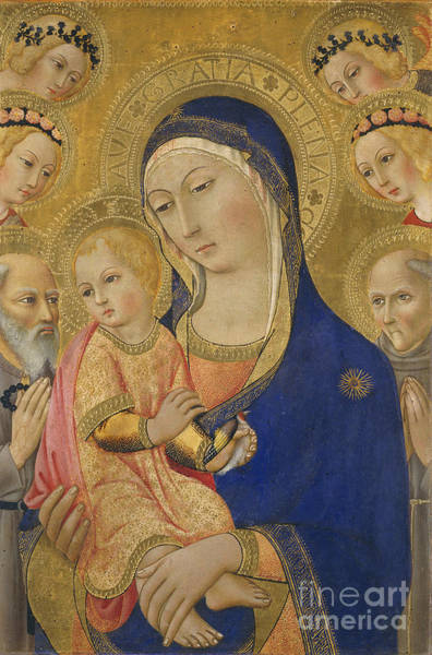 Infant Painting - Madonna And Child With Saint Jerome Saint Bernardino And Angels by Sano di Pietro