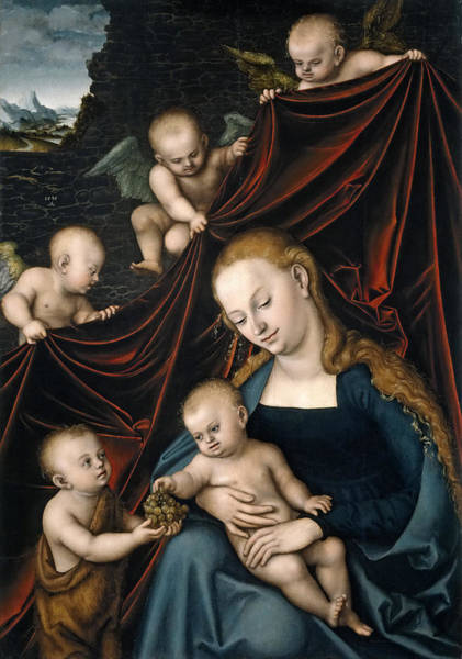 Cranach Painting - Madonna And Child With Saint John And Angels by Lucas Cranach the Elder
