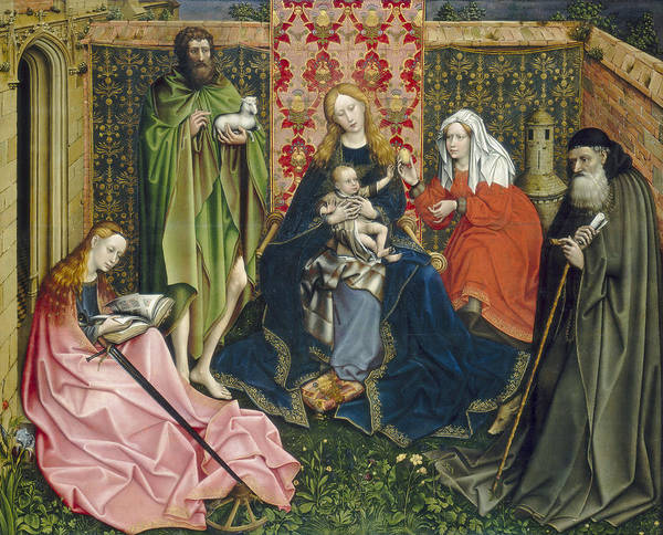 Lamb Of God Wall Art - Painting - Madonna And Child With Saints In The Enclosed Garden by Master of Flemalle