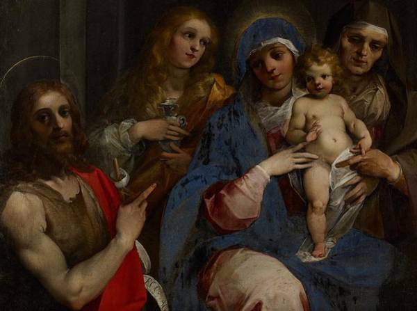 Saint Anne Painting - Madonna And Child With Saints John The Baptist With Mary Magdalene And Anne by Guiseppe Cesari