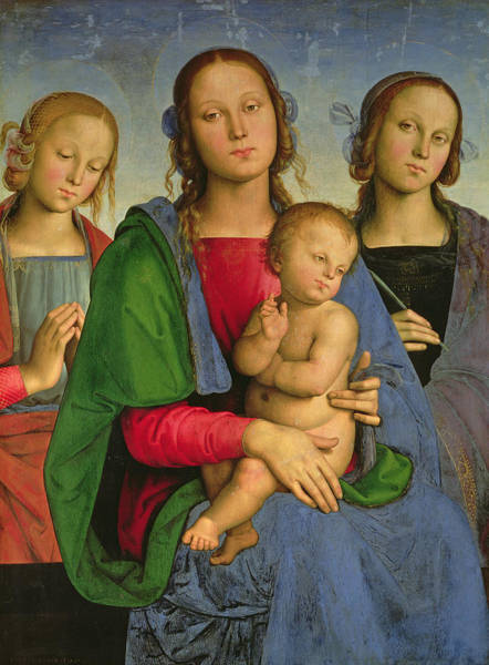Renaissance Photograph - Madonna And Child With St. Catherine And St. Rosa, 1493 Oil On Canvas On Panel by Pietro Perugino