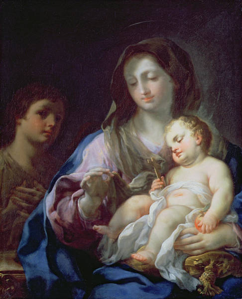 Cushion Wall Art - Painting - Madonna And Child With St. John by Francesco Trevisani