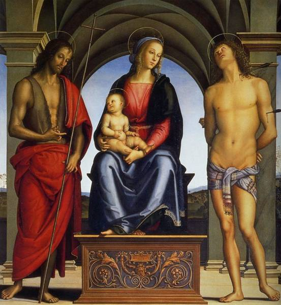 Galleria Painting - Madonna Enthroned Between Saints John The Baptist And Sebastian by Pietro Perugino