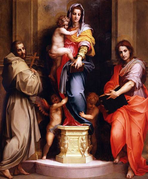Galleria Painting - Madonna Of The Harpies by Andrea del Sarto
