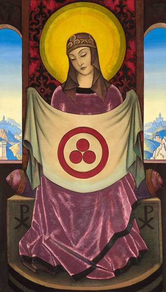 Nk Roerich Painting - Madonna Oriflamma by Nicholas Roerich