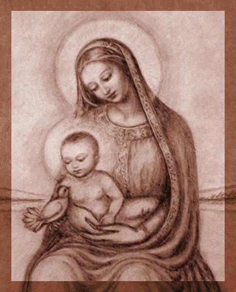 Wall Art - Pastel - Madonna With The Dove Detail by Ananda Vdovic