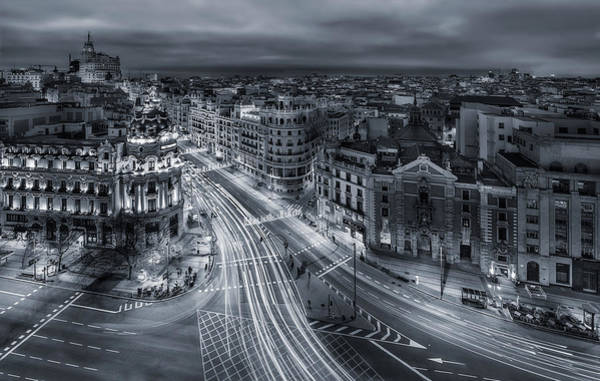 Street Photograph - Madrid City Lights by Javier De La
