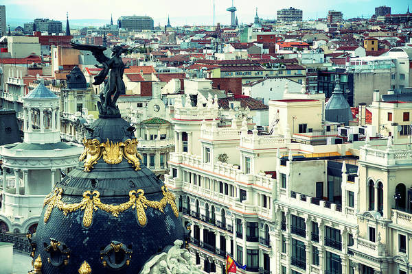 Calle Wall Art - Photograph - Madrid  Rooftops From The Gran Via by Nicolamargaret