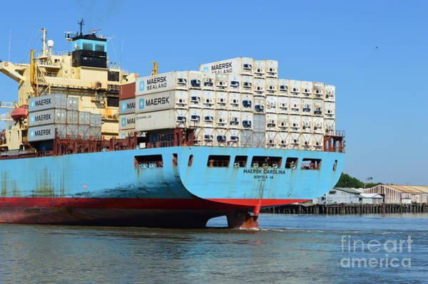 Wall Art - Photograph - Maersk Carolina Stern by Linda Covino