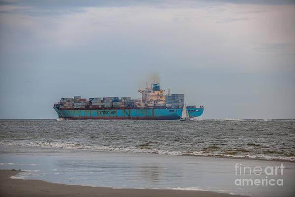 Photograph - Cargo Ship Steaming The Atlantic by Dale Powell