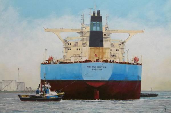 Acrilic Painting - Maersk Nautica by Frits Janse