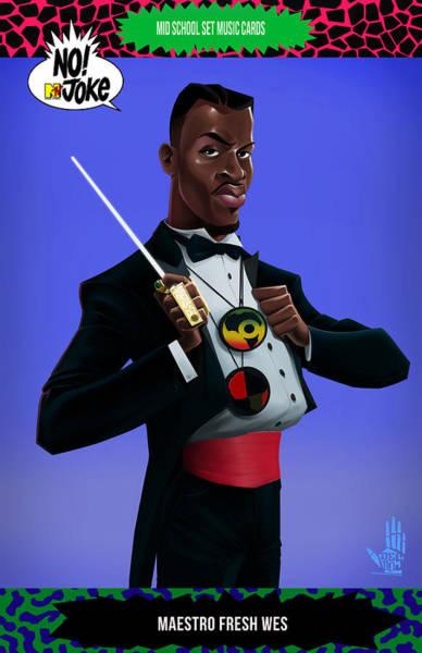 Digital Art - Maestro Fresh Wes Ntv Card by Nelson dedos Garcia