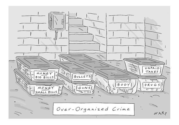 Crime Drawing - Mafia-themed Organizing Compartments Are Stacked by Kim Warp