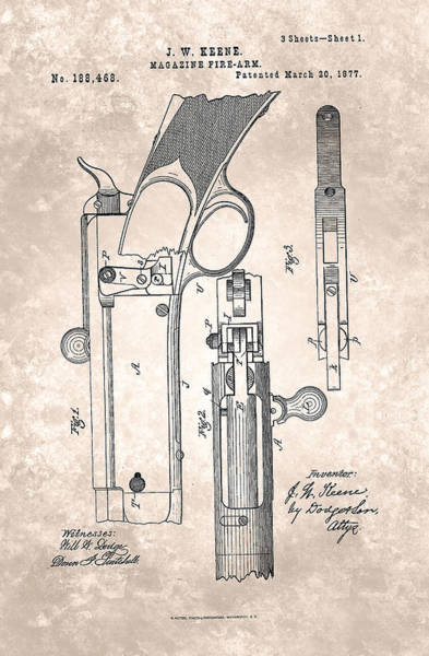 Painting - Magazine Fire-arm - Patent From 1877 Beige by Celestial Images
