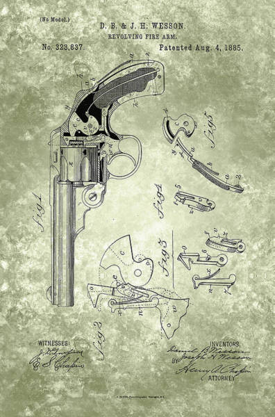 Painting - Magazine Fire-arm - Patent From 1877 Green by Celestial Images