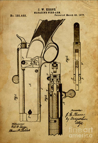 Vintage Patent Drawing - Magazine Fire-arm - Patented On 1877 by Drawspots Illustrations