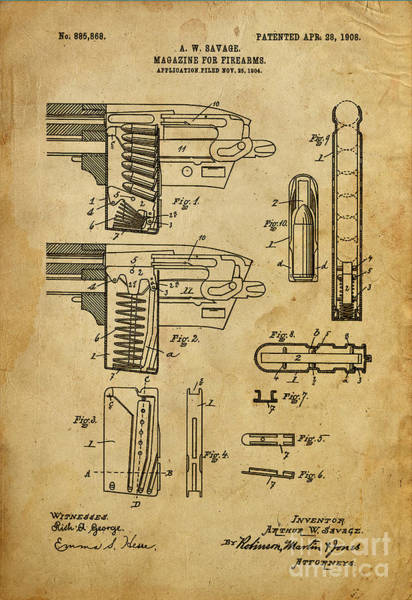 Patent Mixed Media - Magazine For Firearms - Patented On 1908 by Drawspots Illustrations