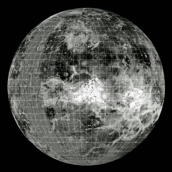 Hemisphere Wall Art - Photograph - Magellan Mosaic Of Venus East Hemisphere With Grid by Nasa/science Photo Library