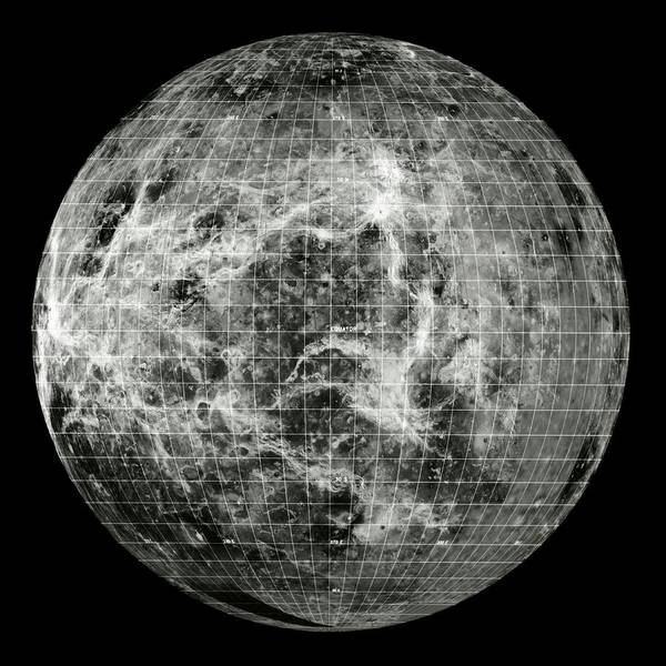 Hemisphere Wall Art - Photograph - Magellan Mosaic Of Venus West Hemisphere With Grid by Nasa/science Photo Library