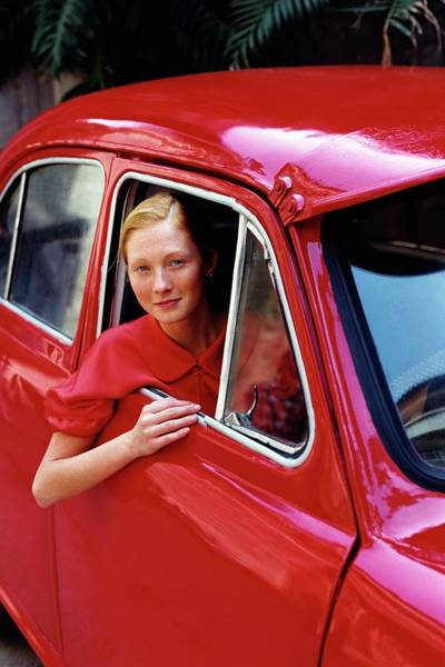 Window Photograph - Maggie Rizer Sitting In A Vintage Car by Arthur Elgort