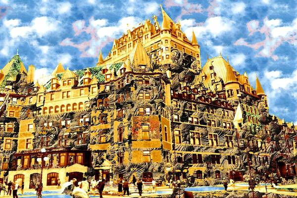 Painting - The Golden Castle Of Quebec City by Peter Potter
