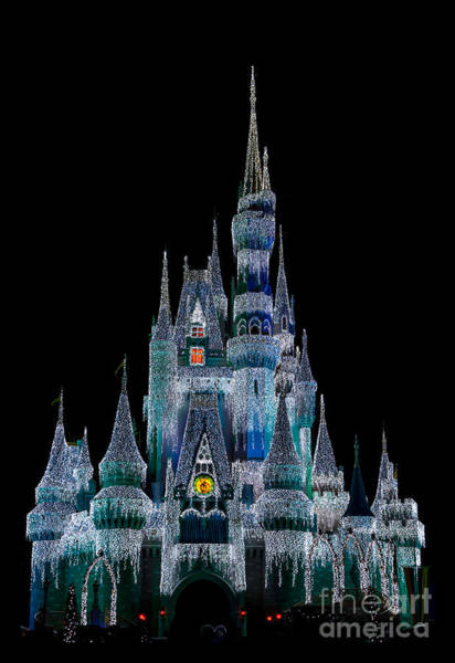 Photograph - Magic Kingdom Castle Frozen Blue Frost For Christmas by Andy Myatt