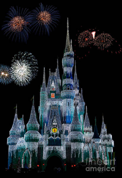Photograph - Magic Kingdom Castle Frozen Fireworks by Andy Myatt