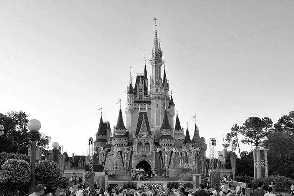 Adventureland Photograph - Magic Kingdom Castle In Black And White by Thomas Woolworth