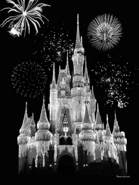 Mickey Mouse Photograph - Magic Kingdom Castle In Black And White With Fireworks Walt Disney World by Thomas Woolworth