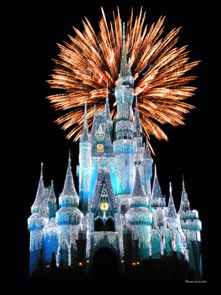Adventureland Photograph - Magic Kingdom Castle In Frosty Light Blue With Fireworks 02 by Thomas Woolworth