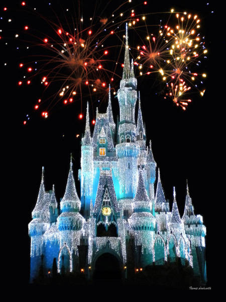 Adventureland Photograph - Magic Kingdom Castle In Frosty Light Blue With Fireworks 03 by Thomas Woolworth