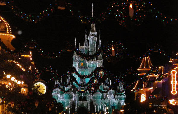 Wall Art - Photograph - Magic Kingdom Xmas Castle In Frosty Light Blue by Thomas Woolworth