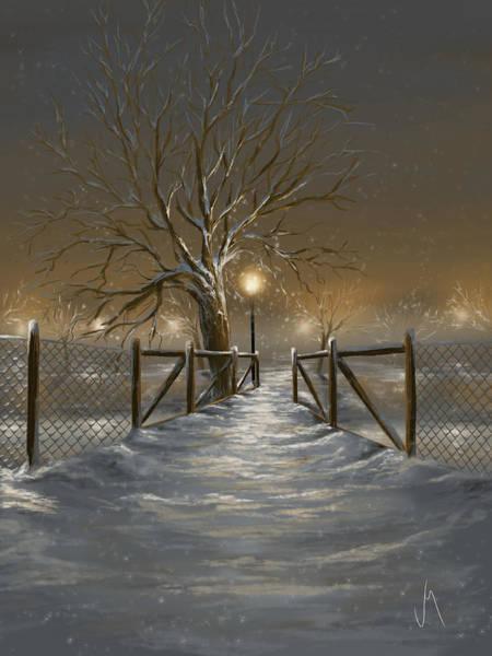 Winter Walk Painting - Magic Night by Veronica Minozzi