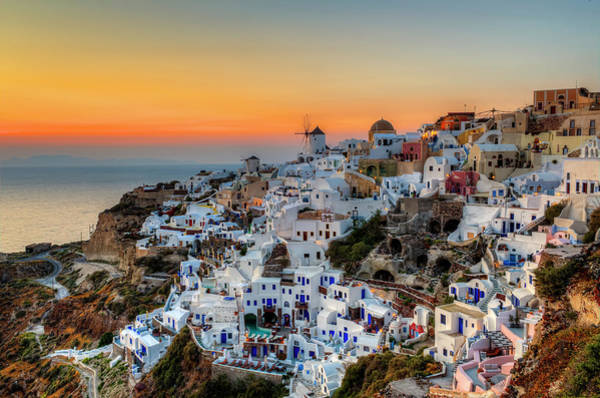 Travel Destinations Photograph - Magic Sunset In Santorini by George Papapostolou Photographer