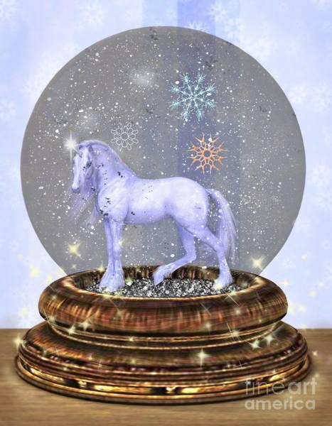 Digital Art - Magic Unicorn Snow Globe by Elle Arden Walby