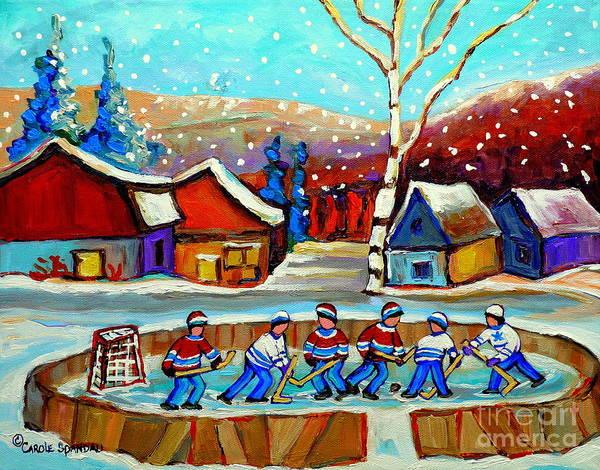 Painting - Magical Pond Hockey Memories Hockey Art Snow Falling Winter Fun Country Hockey Scenes  Spandau Art by Carole Spandau