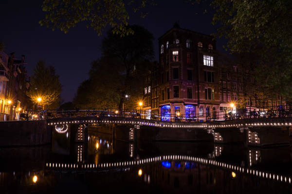 Photograph - Magical Sparkling Amsterdam Canals And Bridges At Night by Georgia Mizuleva