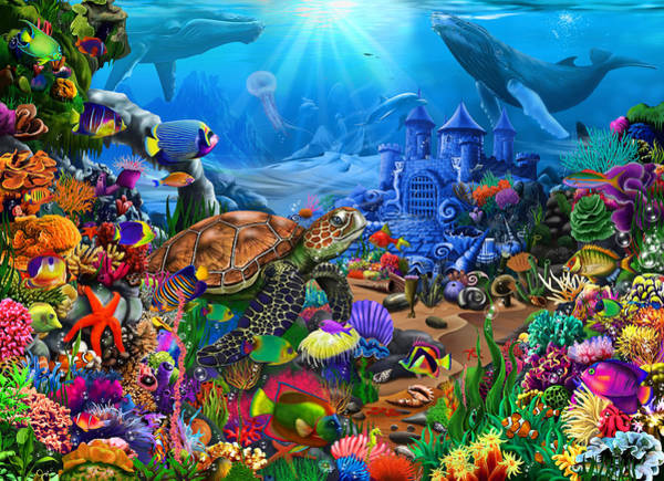 Wall Art - Painting - Magical Undersea Turtle by MGL Meiklejohn Graphics Licensing